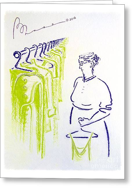 Wishes Pastels Greeting Cards - The Laundress Greeting Card by Barbara Chase