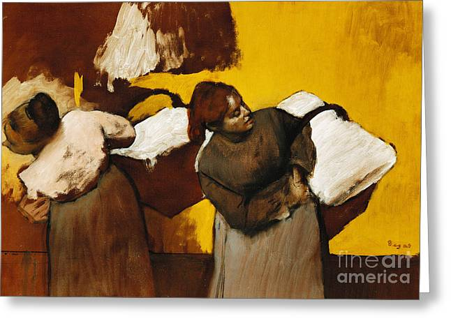 Domestic Scene Greeting Cards - Laundresses Greeting Card by Edgar Degas