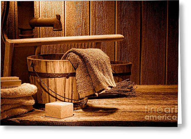 Laundry At The Ranch - Sepia Greeting Card by Olivier Le Queinec
