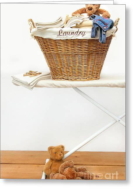 Ironing Board Greeting Cards - Laundry basket with teddy bears on floor Greeting Card by Sandra Cunningham