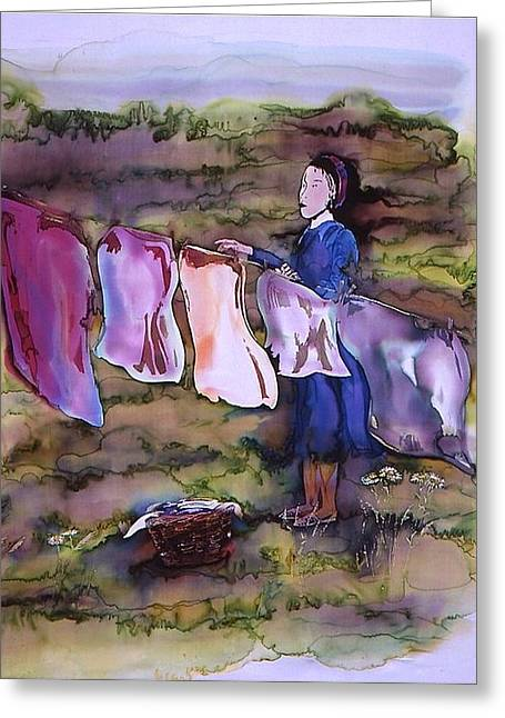 Silk Tapestries - Textiles Greeting Cards - Laundry Day Greeting Card by Carolyn Doe