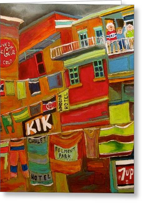 Seven-up Sign Greeting Cards - Laundry Days Montreal Memories Greeting Card by Michael Litvack