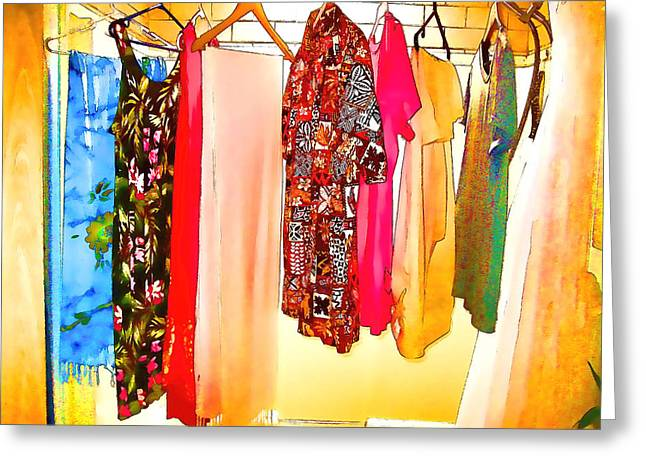 Dress Greeting Cards - Laundry  Greeting Card by Kathy Bassett