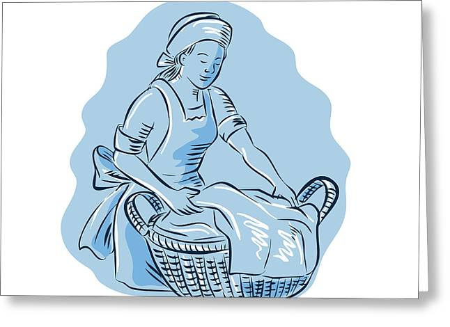 Etching Digital Greeting Cards - Laundry Maid Basket Vintage Etching Greeting Card by Aloysius Patrimonio