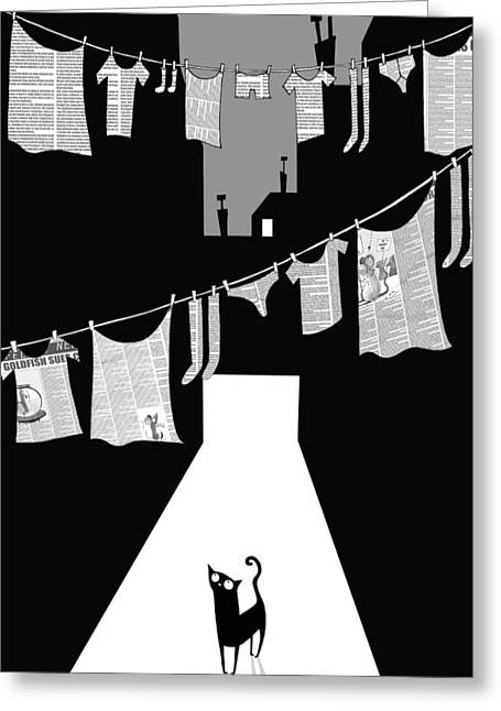 Laundry Greeting Card by Andrew Hitchen