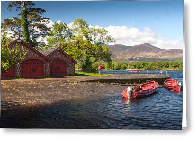 Tommie Greeting Cards - Laune Boathouse Greeting Card by Mark Callanan