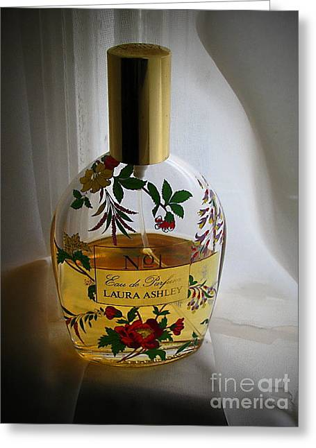 Perfume Bottle Greeting Cards - Laura Ashley No 1 Greeting Card by Colleen Kammerer