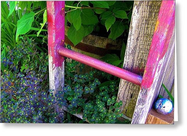 Garden Scene Photographs Greeting Cards - Lauras Ladder Greeting Card by Jen White