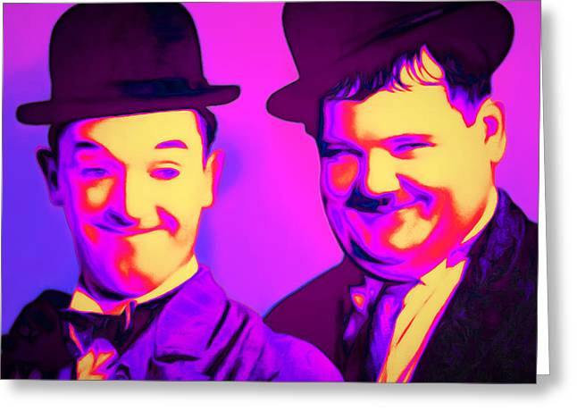 Laurel And Hardy 20160102 Square Greeting Card by Wingsdomain Art and Photography