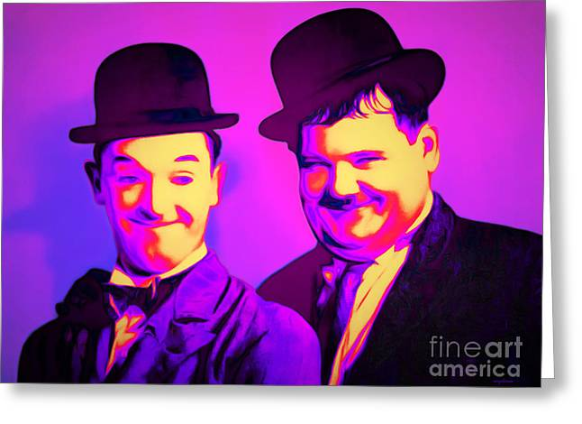 Laurel And Hardy 20160102 Greeting Card by Wingsdomain Art and Photography