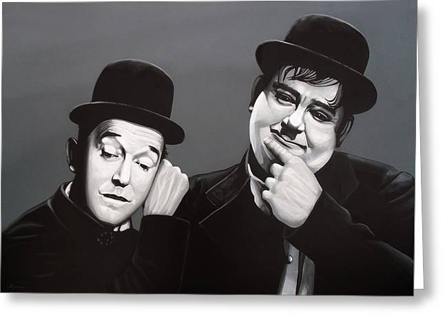 Laurel And Hardy Greeting Card by Paul Meijering