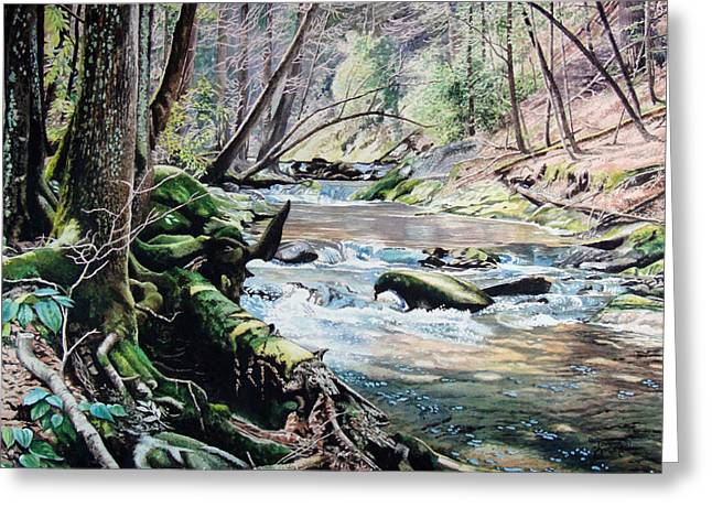 Smokey Mountains Paintings Greeting Cards - Laurel Creek  Greeting Card by Jennifer Oakley-Delaplante