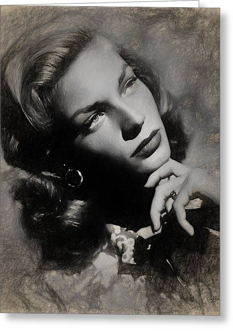 Lauren Bacall Greeting Card by Quim Abella