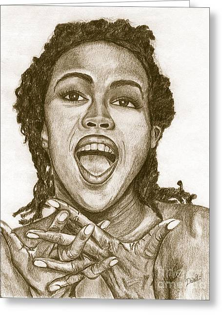 Charcoal Portrait Greeting Cards - Lauryn Hill Greeting Card by Debbie DeWitt