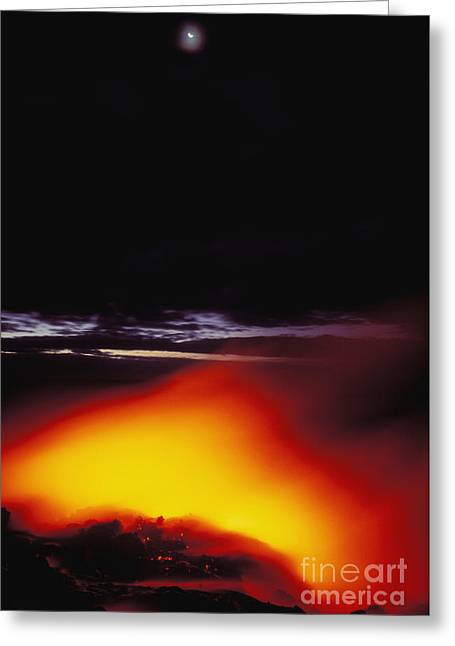 Lava And Moon Greeting Card by William Waterfall - Printscapes