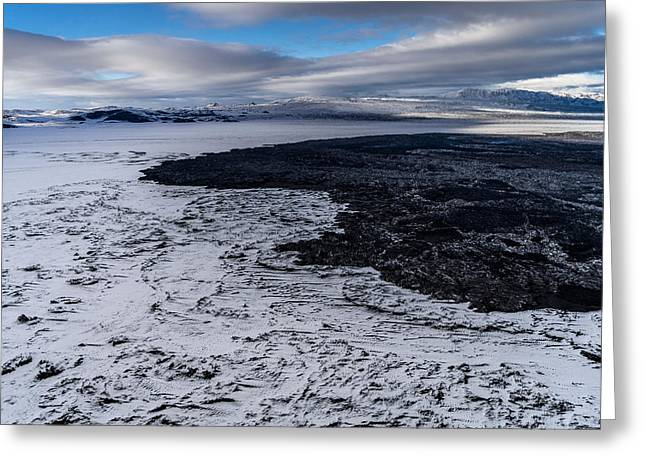 Black Top Greeting Cards - Lava And Snow By The Volcano Eruption Greeting Card by Panoramic Images