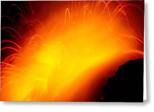 Lava And Steam Greeting Card by Peter French - Printscapes