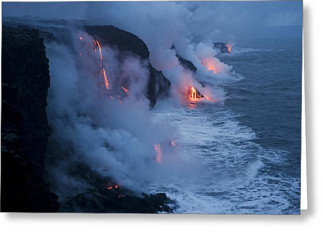 Volcanoes And Volcanic Action Greeting Cards - Lava Flowing Into The Pacific Ocean Greeting Card by Stephen Alvarez