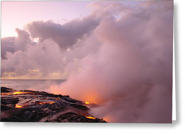 Lava Flows At Sunrise Greeting Card by Peter French - Printscapes