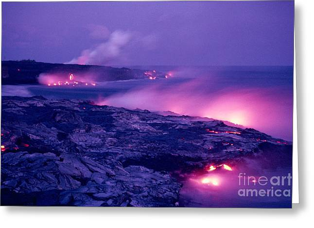 Lava Flows To The Sea Greeting Card by Mary Van de Ven - Printscapes