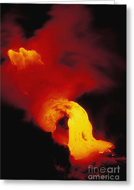 Lava Into The Sea Greeting Card by Allan Seiden - Printscapes