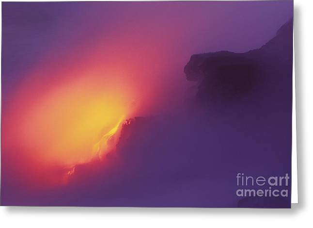 Lava Meets The Sea Greeting Card by William Waterfall - Printscapes
