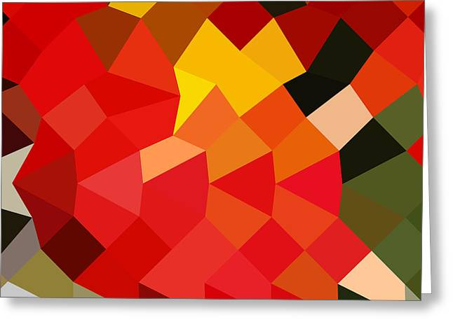 Polygon Greeting Cards - Lava Red Abstract Low Polygon Background Greeting Card by Aloysius Patrimonio