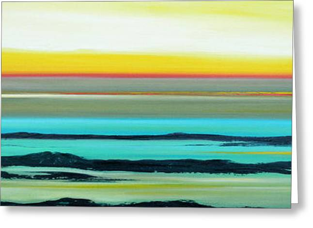 Sunset Posters Greeting Cards - Lava Rocks Panoramic Sunset in Yellow and Blue Greeting Card by Gina De Gorna