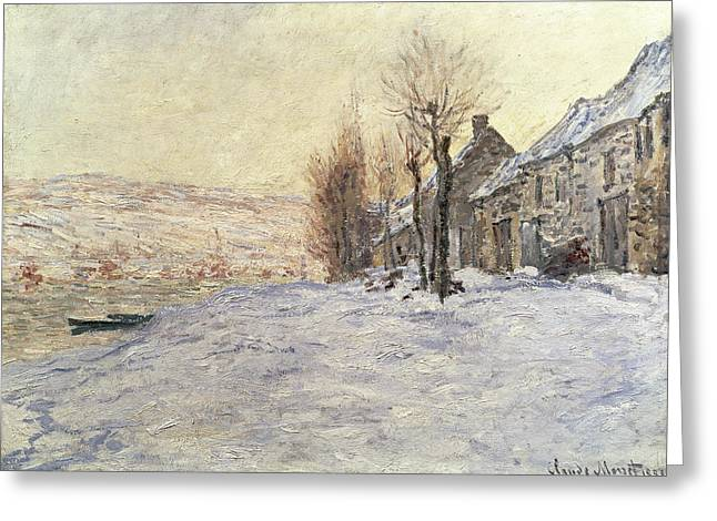 Snow White Greeting Cards - Lavacourt under Snow Greeting Card by Claude Monet