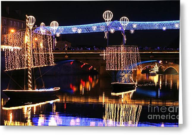 Illuminate Greeting Cards - Laval city illuminated during Christmas Greeting Card by Joel Douillet