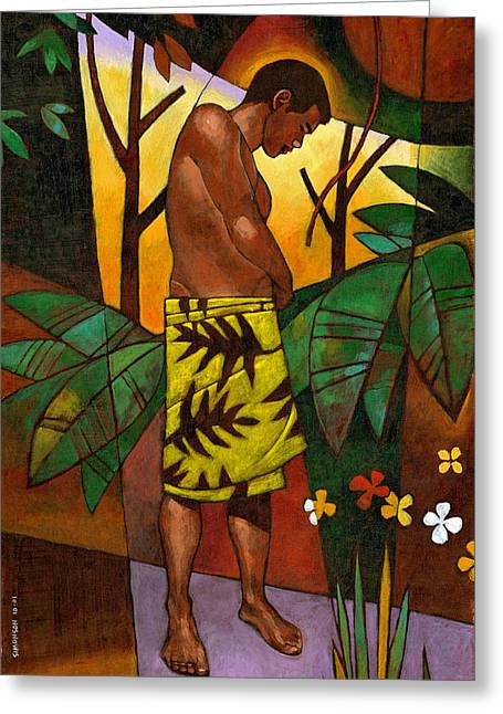 Male Figure Greeting Cards - Lavalava Greeting Card by Douglas Simonson