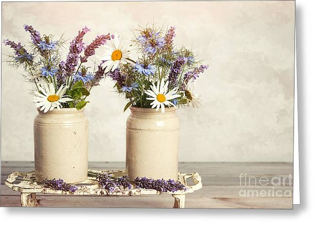 Lavender And Daisies Greeting Card by Amanda Elwell