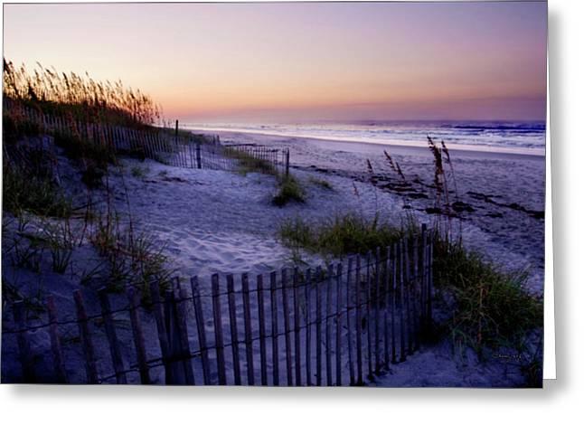 Ocean Art Photos Greeting Cards - Lavender Beach Sunrise Greeting Card by Alan Hausenflock