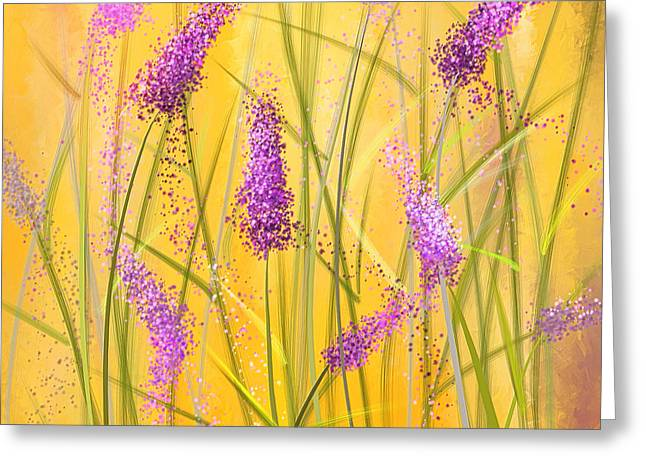 Purple And Green Greeting Cards - Lavender Beauties Greeting Card by Lourry Legarde