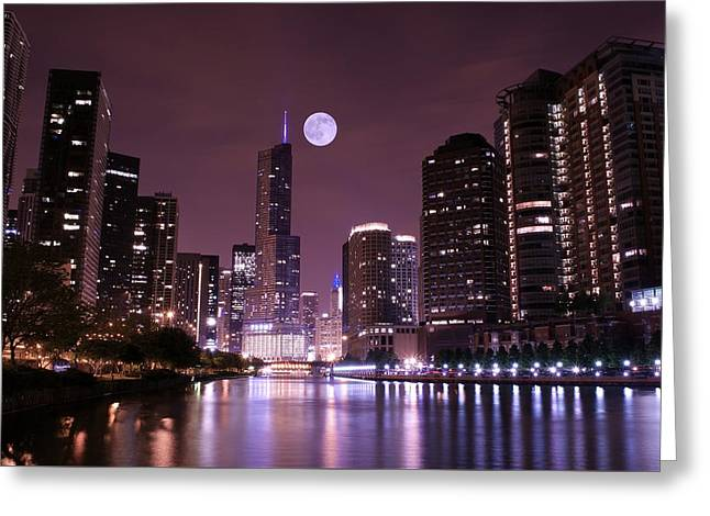 Stanley Street Greeting Cards - Lavender Chicago Nights Greeting Card by Frozen in Time Fine Art Photography