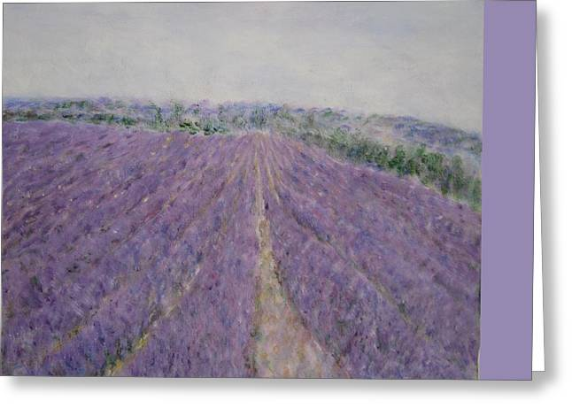 Impressionism Greeting Cards - Lavender Crop in Burgundy France Greeting Card by Glenda Crigger