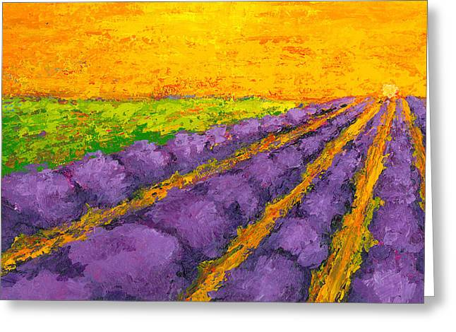 Lavender Field A Modern Impressionistic Artwork In Palette Knife Greeting Card by Patricia Awapara