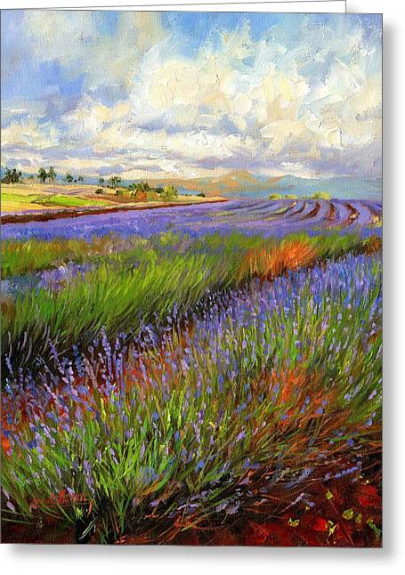 Lavender Greeting Cards - Lavender Field Greeting Card by David Stribbling