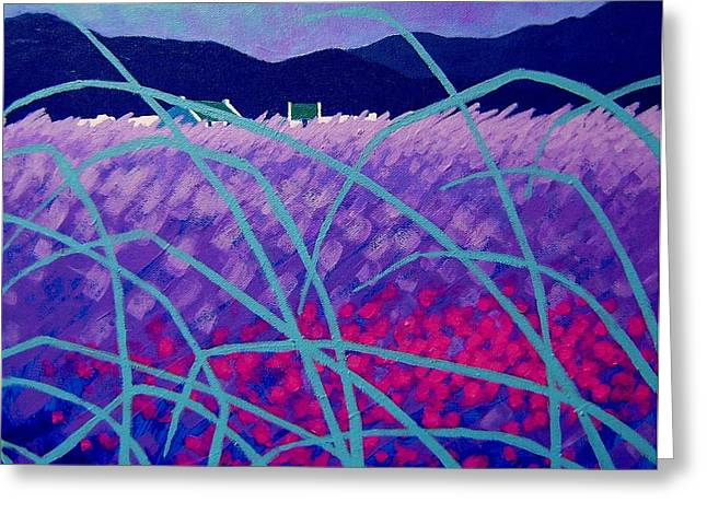 Acrylic Greeting Cards - Lavender Field Greeting Card by John  Nolan