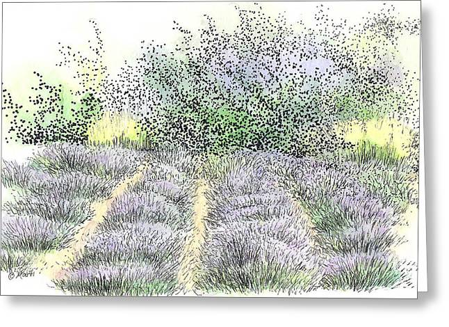 Green And Yellow Greeting Cards - Lavender Field Greeting Card by Marti Gamba