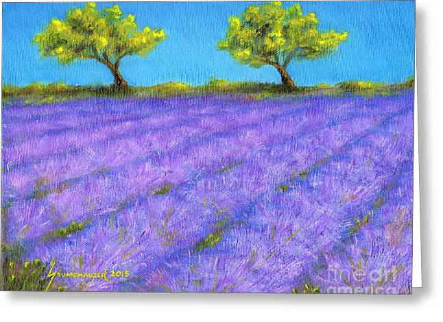 Lavender Field With Twin Oaks Greeting Card by Jerome Stumphauzer