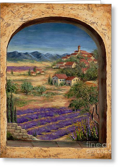 Cypress Trees Greeting Cards - Lavender Fields and Village of Provence Greeting Card by Marilyn Dunlap