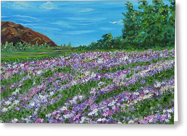 Moving Petals Greeting Cards - lavender flowers- Moving On- oil painting floral art Greeting Card by Kathy  Symonds