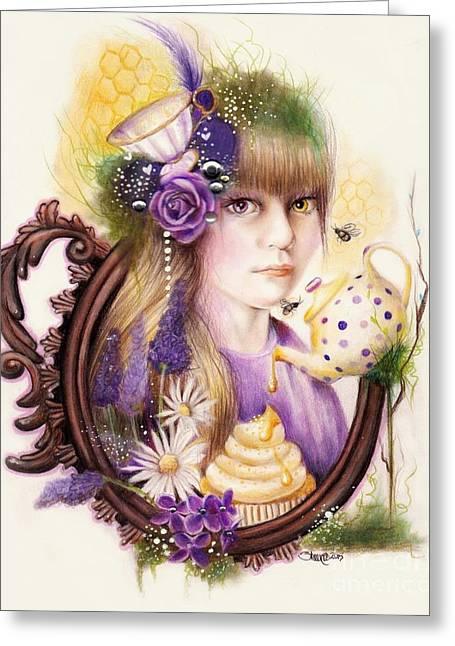 Moss Green Greeting Cards - Lavender Honey Greeting Card by Sheena Pike