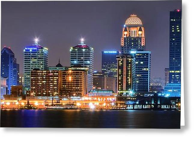 River View Greeting Cards - Lavender Louisville Panorama Greeting Card by Frozen in Time Fine Art Photography