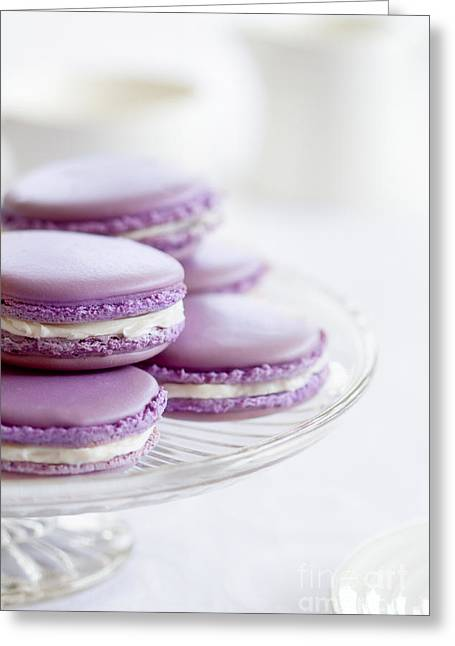Cake Stand Greeting Cards - Lavender macarons Greeting Card by Ruth Black