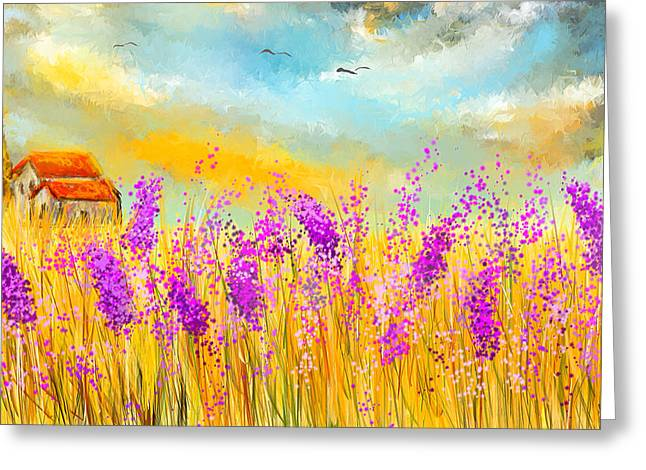 Lavender Fields Greeting Cards - Lavender Memories - Lavender Field Art Greeting Card by Lourry Legarde