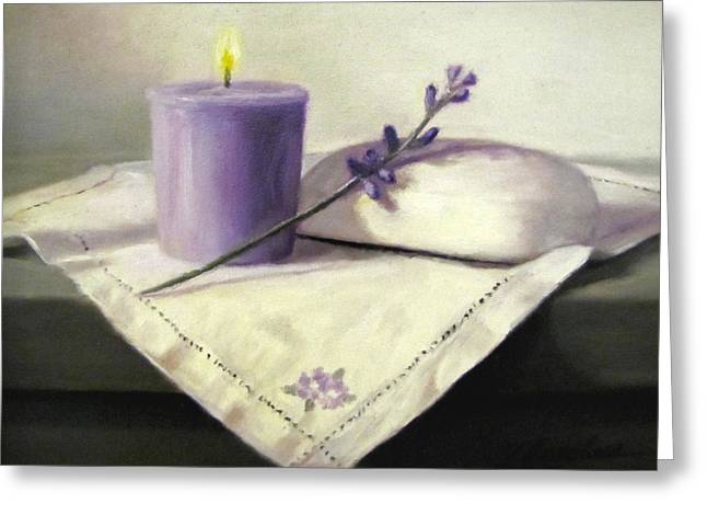 Candle Lit Paintings Greeting Cards - Lavender Sprig Greeting Card by Linda Jacobus