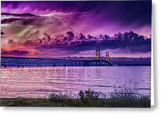 Lavender Storm Over The Mighty Mac Greeting Card by J Thomas