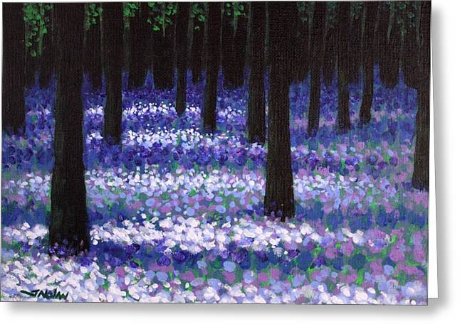 Shadows Greeting Cards Greeting Cards - Lavender Woodland Greeting Card by John  Nolan